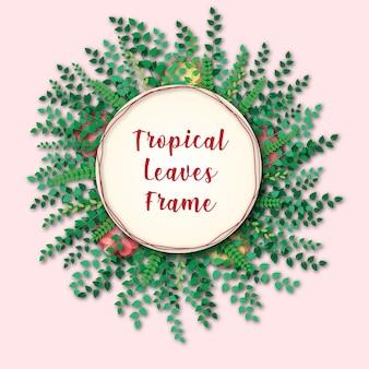 Tropische bladeren - frame - achtergrond