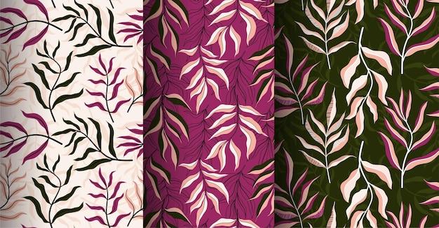 Tropische bladeren hand getrokken naadloze patroon.