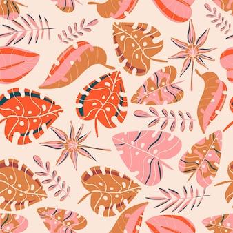 Tropische bladeren lente en zomer fris en glanzend achtergrond