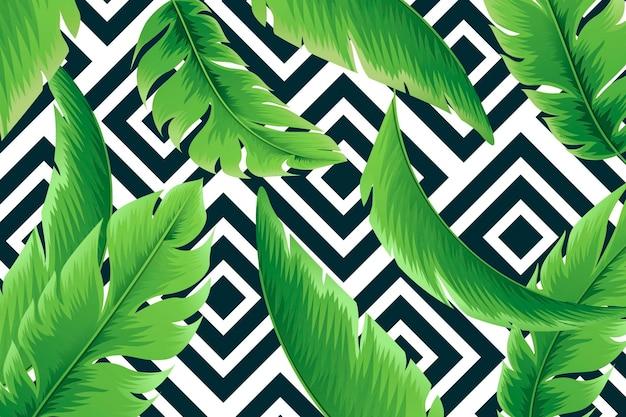 Tropische bladeren met geometrische achtergrond
