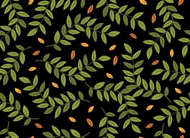 Tropische bladeren naadloze patroon op zwart