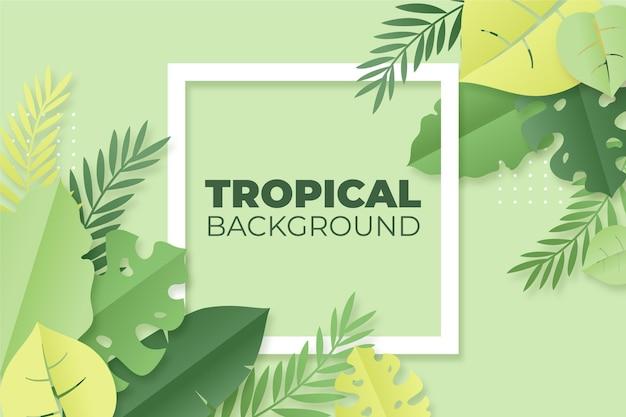 Tropische bladeren op papier stijl achtergrond