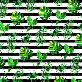 Tropische bladeren patroon in aquarel stijl met strepen