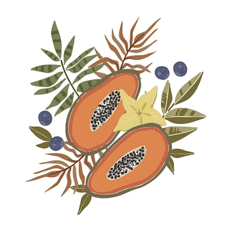 Tropische bladeren stellen boho abstracte papaya-kunst in