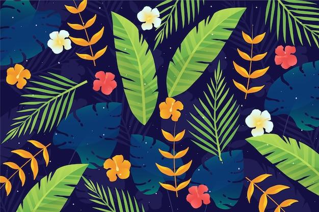 Tropische bladeren voor zoombehang