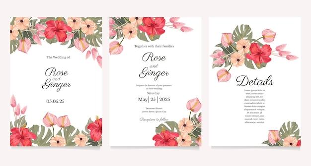 Tropische bloem bruiloft uitnodiging sjabloon set