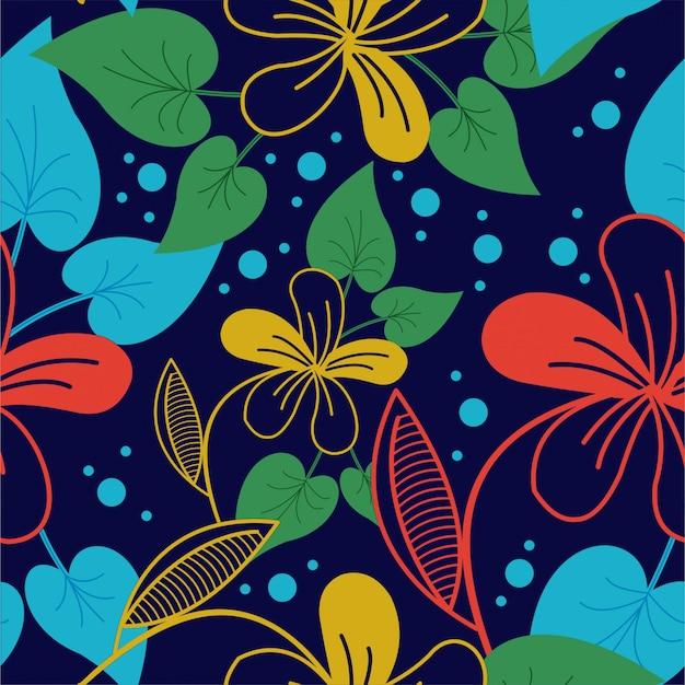 Tropische bloem en bladeren jungle achtergrond premium vector patroon
