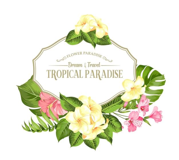 Tropische bloem frame met plaats voor tekst. palm, hibiscus en monstera op witte achtergrond.