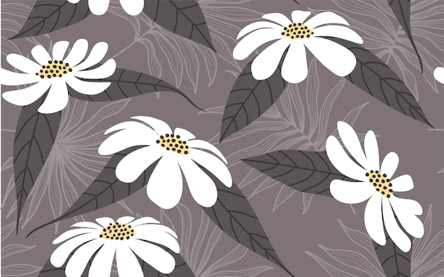 Tropische bloem hand getekende naadloze patroon