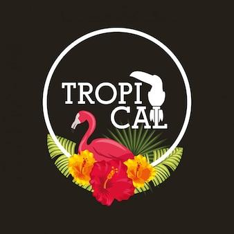 Tropische bloem laat dieren kaart
