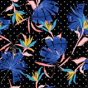 Tropische bloem op kleine stippen naadloze patroon