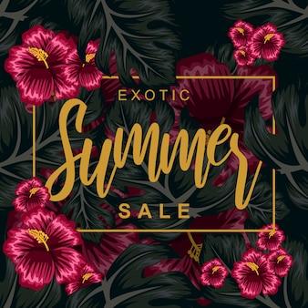 Tropische bloem voor zomer poster illustratie