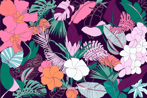 Tropische bloemachtergrond in 2d stijl