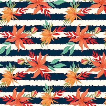 Tropische bloembos met streep naadloos patroon