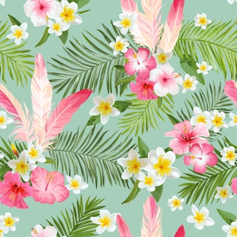 Tropische bloemen achtergrond. vintage naadloze patroon. vector patroon