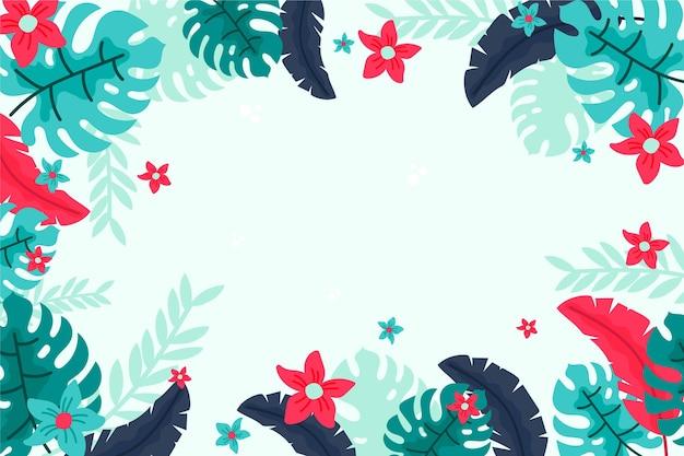 Tropische bloemen / bladeren - achtergrond voor zoom