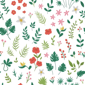 Tropische bloemen, bladeren en twijgen
