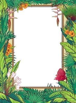 Tropische bloemen circulaire frame.