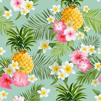 Tropische bloemen en ananas achtergrond - vintage naadloze patroon