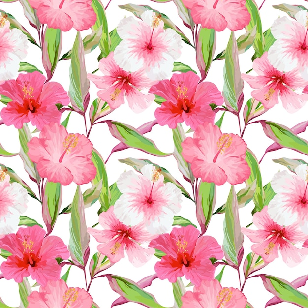 Tropische bloemen en bladeren achtergrond. naadloze patroon. vector ontwerp