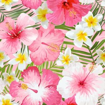 Tropische bloemen en bladeren achtergrond - vintage naadloze patroon