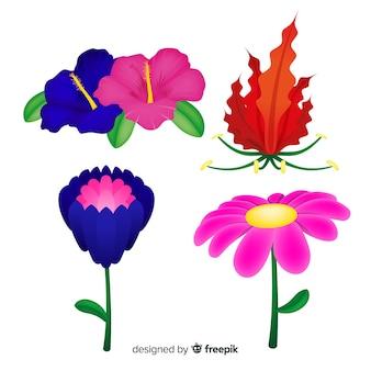 Tropische bloemen en bladeren collectie