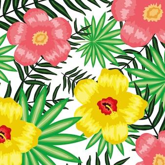 Tropische bloemen en bladeren planten patroon achtergrond
