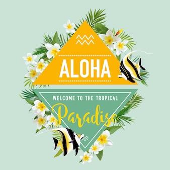 Tropische bloemen en exotische vissen achtergrond. zomer ontwerp. t-shirt mode afbeelding.