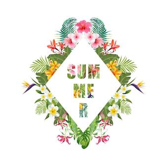 Tropische bloemen en palmen zomer banner, grafische achtergrond, exotische bloemen uitnodiging, flyer of kaart. moderne voorpagina
