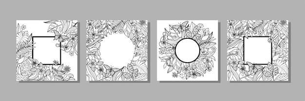 Tropische bloemen en planten frames set