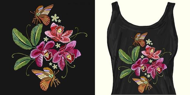 Tropische bloemen en vlinder. borduurwerk