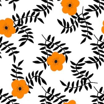 Tropische bloemen en zwarte bladeren naadloze patroon.