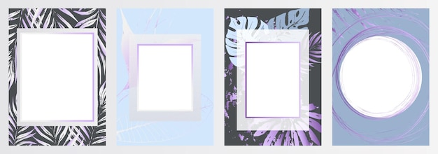 Tropische bloemen frame blauwe elegante kaart botanische compositie voor het ontwerpen van huwelijksuitnodigingen