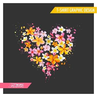Tropische bloemen in hartvorm grafisch ontwerp