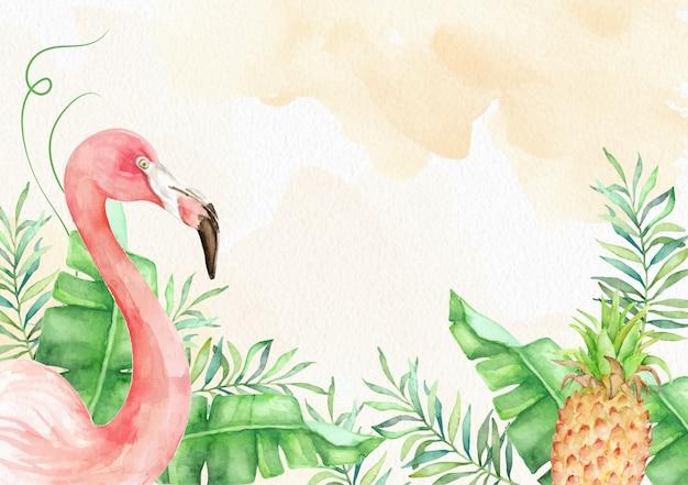 Tropische bloemen met flamingo aquarel achtergrond
