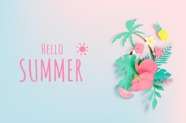 Tropische bloemen met flamingo in papieren kunststijl en pastelkleur