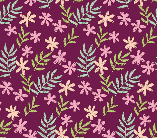 Tropische bloemen naadloos patroon op donkerrode kleur.