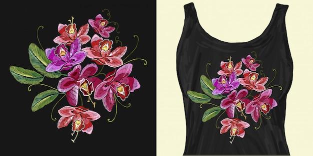 Tropische bloemen orchideeën. borduurwerk