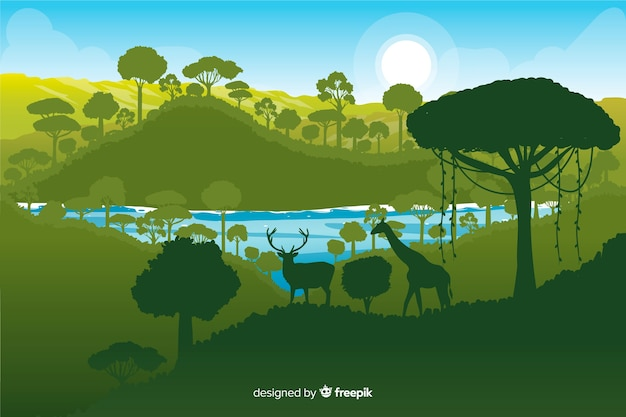 Tropische bosachtergrond met verschillende groene schaduwen