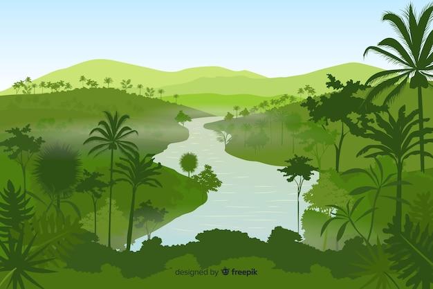 Tropische boslandschapsachtergrond
