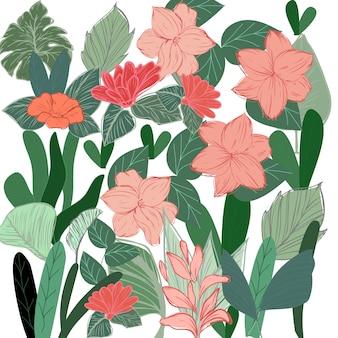 Tropische botanische bloem en laat patroon