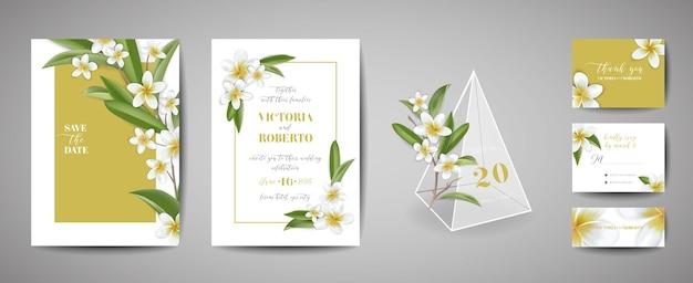 Tropische bruiloft uitnodigingskaart sjabloonontwerp, botanische plumeria bloemen en bladeren in moderne stijl, collectie van save the date, rsvp, groet in vector