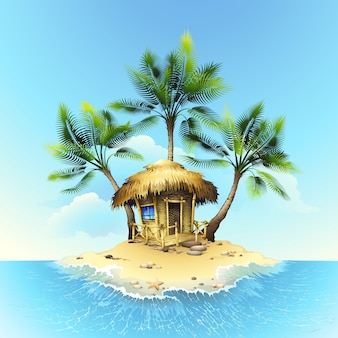 Tropische bungalow op eiland in oceaan
