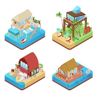 Tropische bungalows met palmbomen