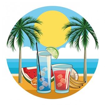 Tropische cocktail drankjes pictogram