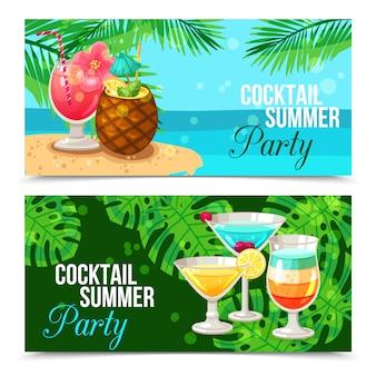Tropische cocktails horizontale banners