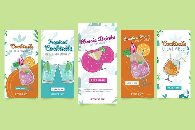 Tropische cocktails instagram-verhalen