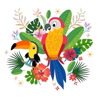 Tropische collectie voor junglefeest of tropische bruiloft