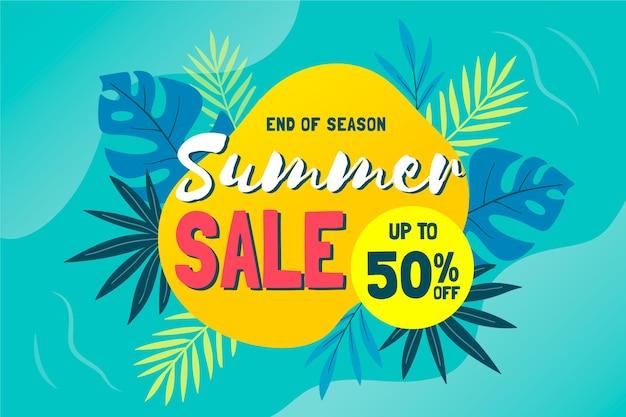 Tropische einde van de zomer verkoop achtergrond