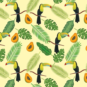 Tropische en exotische bloemen met toucan en papaja
